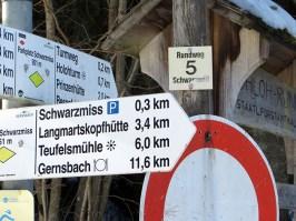Wegweiser am Parkplatz C Schwarzmisshütte Kaltenbronn/Gernsbach