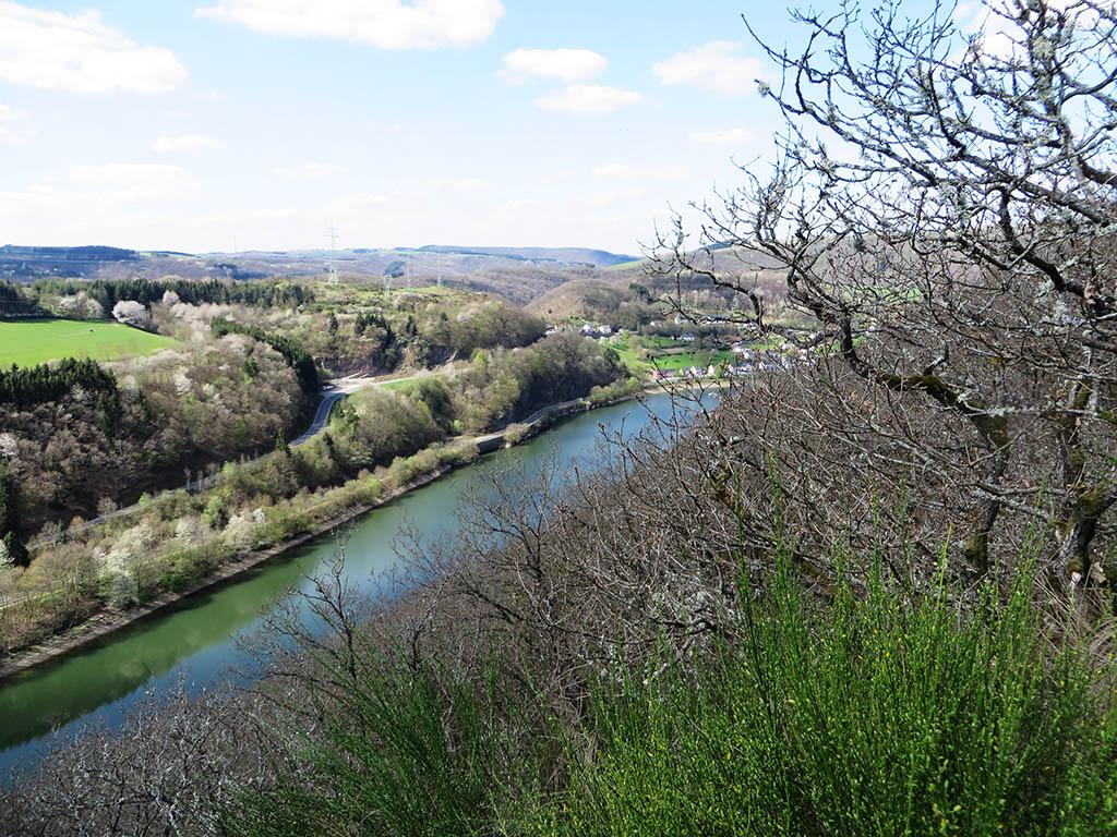 Der Stausee ist 8 km lang und reicht von der Ourtalsperre bei Vianden bis nach Stolzemburg.