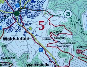 Ausschnitt aus der Infotafel mit dem Glaubensweg 5 in Waldstetten.