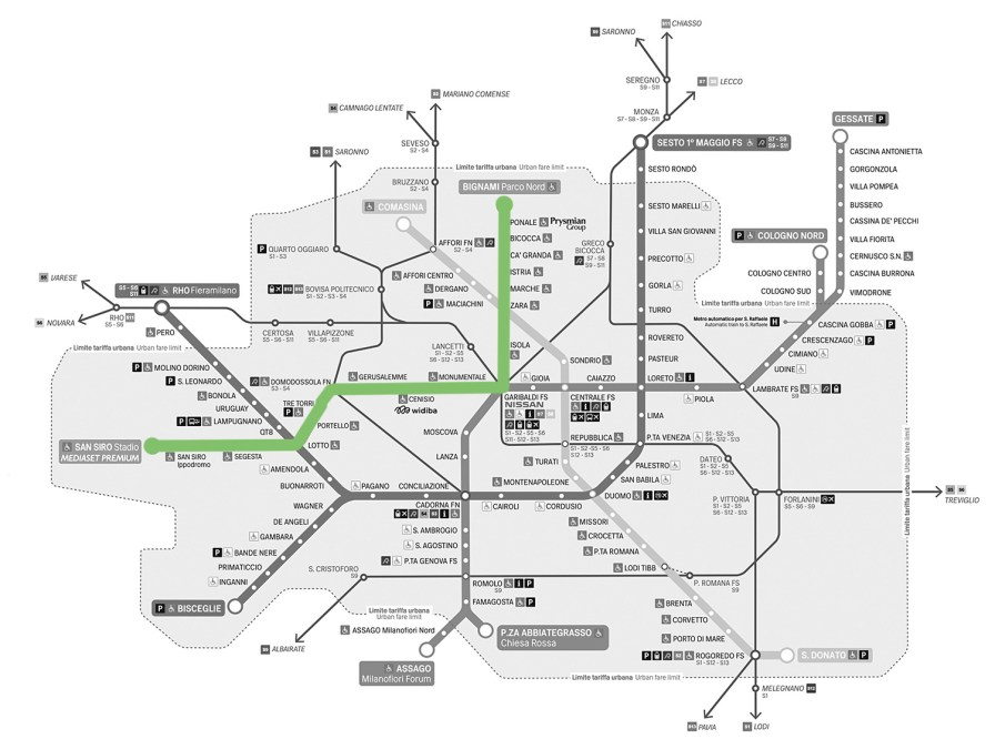 Streckenplan Metro und Straßenbahn in Mailand, Metro Linie 5 grün markiert. (C)ATM