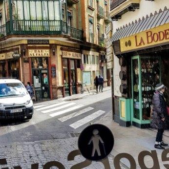 Altstadtgassen von Sevilla in Andalusien, Spanien.