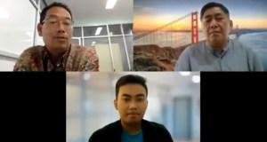Audiensi mahasiswa bersama pimpinan Unnes dihadiri oleh WR II Keuangan (kiri atas) dan WR III Kemahasiswaan (kanan atas) melalui Zoom Meeting, Jumat (6/8). [Dok BP2M]