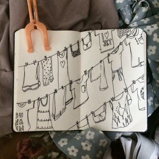 When in doubt, do laundry. I was just doodling about my favorite chore. Abis ngelaundry tuh damai (knowing you don't have to worry about running out of underwears for at least, 3 days).
