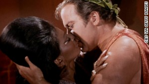 Nichelle Nichols as Uhura and William Shatner as Captain James T. Kirk in the STAR TREK episode,