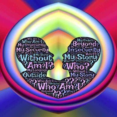 Bild im Beitrag Selbstliebe und Egoismus ; 2 Kopfprofile mit der Inschrift Wer bin ich ohne meine Geschichte