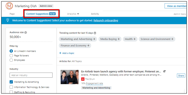 LinkedIn content suggestions company page