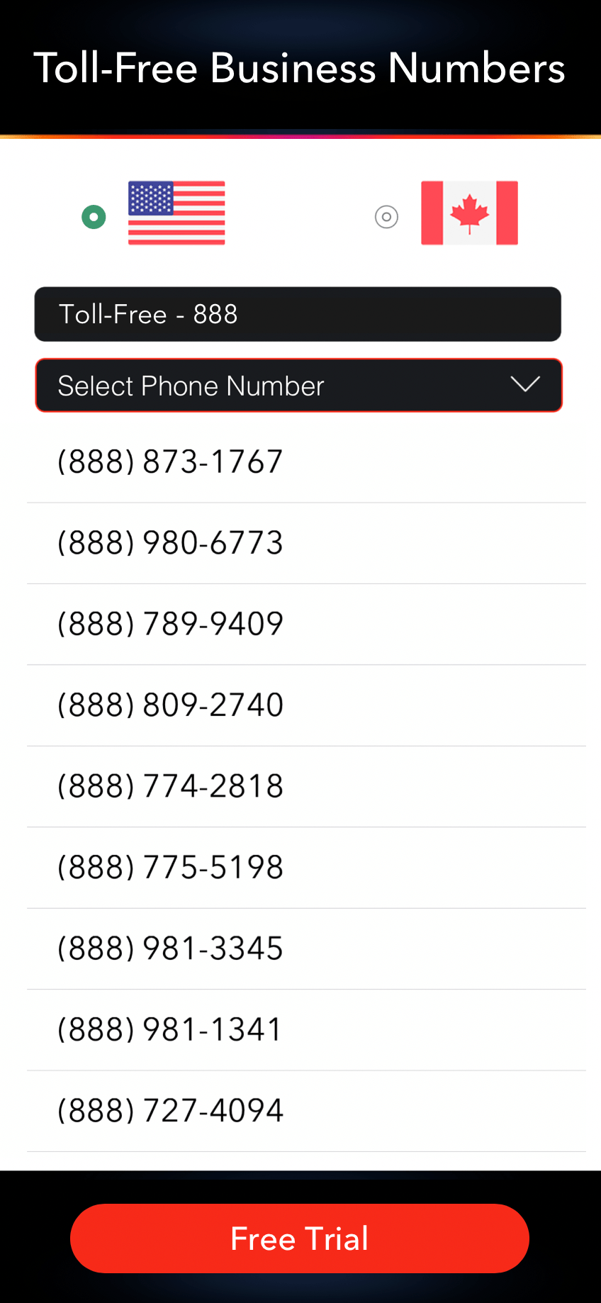 LinkedPhone Mobile App Screenshot of Select Toll-Free Business Phone Number