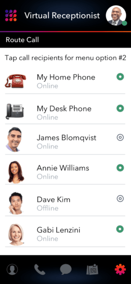 Virtual Receptionist and Select Call Routing Recipients App Screenshot