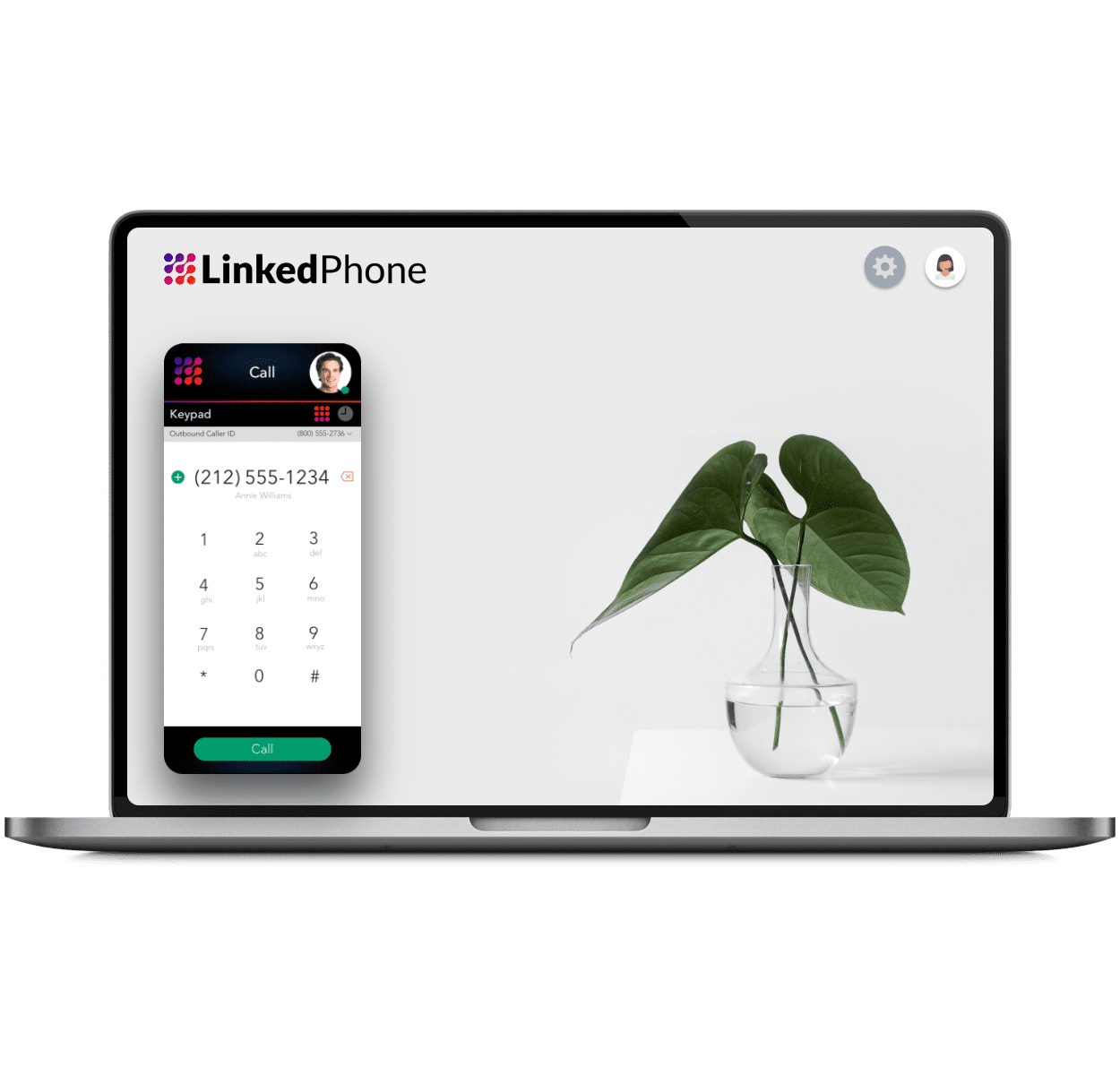 Laptop Computer using Dialpad On The Web via Browser - LinkedPhone Virtual Phone System for Business
