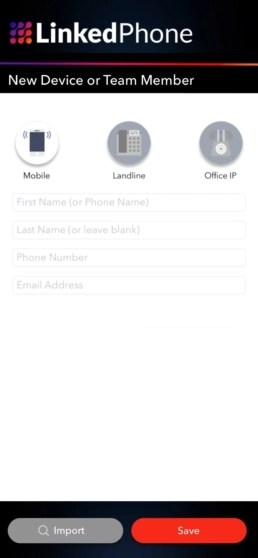 LinkedPhone App Screenshot - Add Team Member or New Device to Your Business Phone System