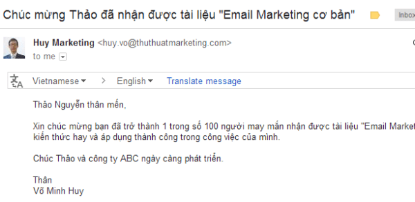 ca nhan hoa noi dung email marketing