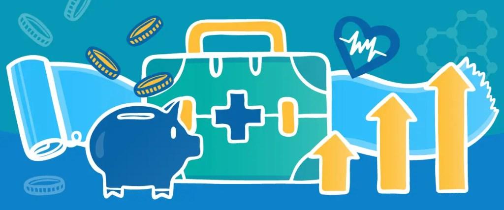 Piggy bank coins and medical emergency bag