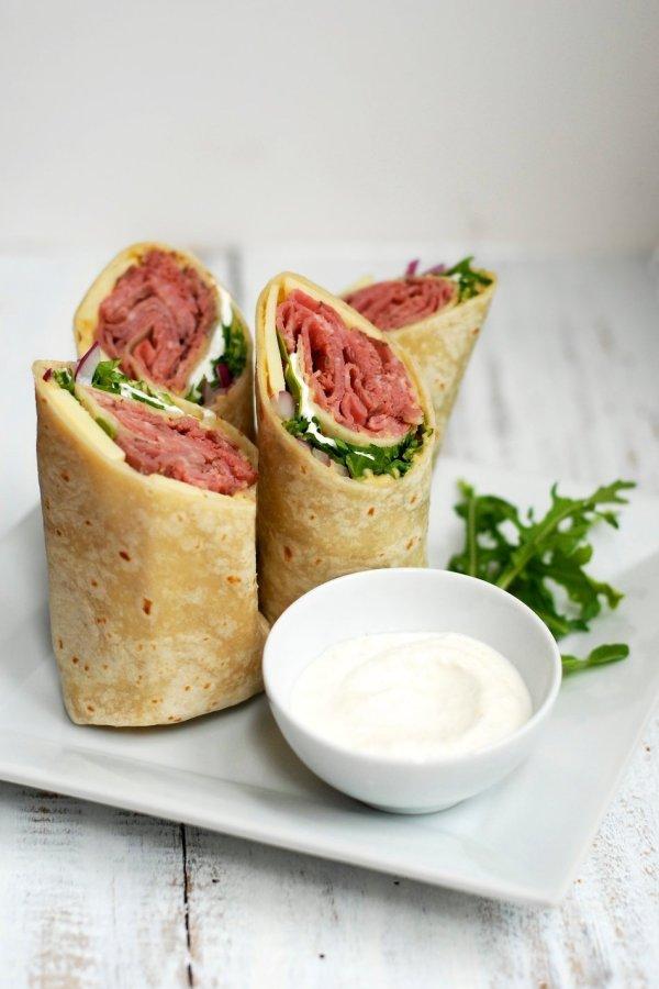 Horseradish and Hummus Roast Beef Wraps With Cabot