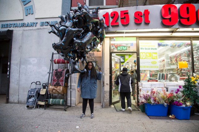 42 Black Panther Balloons on 125th Street, 2014 performance on December 5th, 2014 walking black panther mylar balloons between Riverside Drive and Sixth Avenue on 125th Street in Harlem, New York