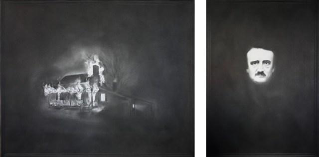 Poe House, 2015 (L), Portrait Edgar Allan Poe, 2015 (R)