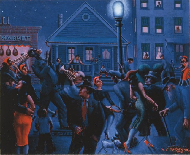 Archibald J. Motley Jr. (1891–1981), Gettin' Religion, 1948. Oil on canvas, 40 × 48.375 in. (101.6 × 122.9 cm). Collection of Mara Motley, MD, and Valerie Gerrard Browne.