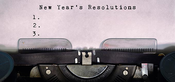 New Year's Resolutions Typed on a Vintage Typewriter
