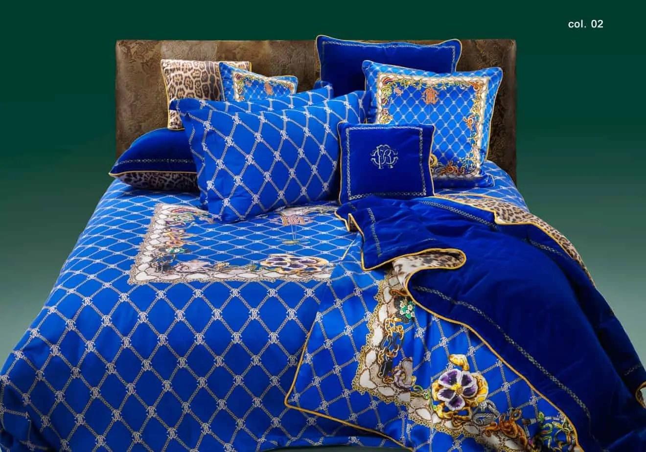 roberto cavalli bedding beddengoed dekbedovertrek spider blauw