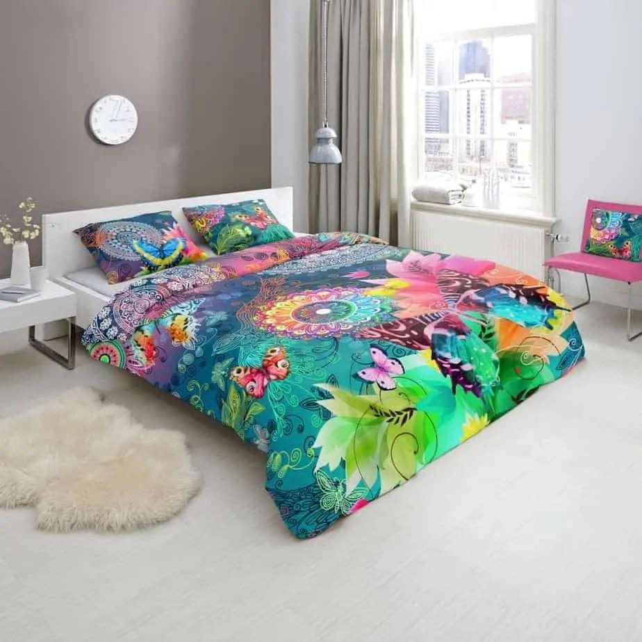 dekbedovertrek parade hip katoensatijn vrolijk satijn vlinders kleurrijk
