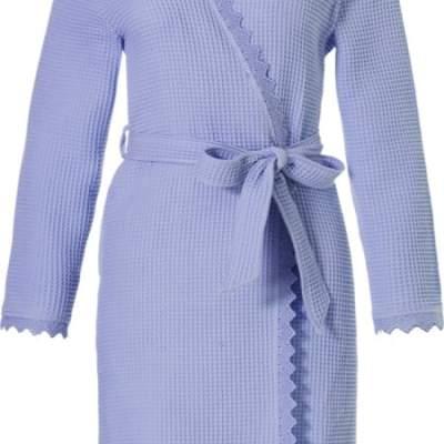dames badjas in de kleur blauw en met wafelstof uitvoering