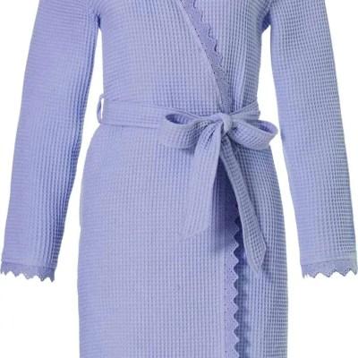 badjas-wafelstof-dames-blauw-dames-katoenen-ochtendjas