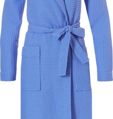 wafelstof badjas blauw voor dames