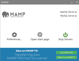 MAMP a local host server software