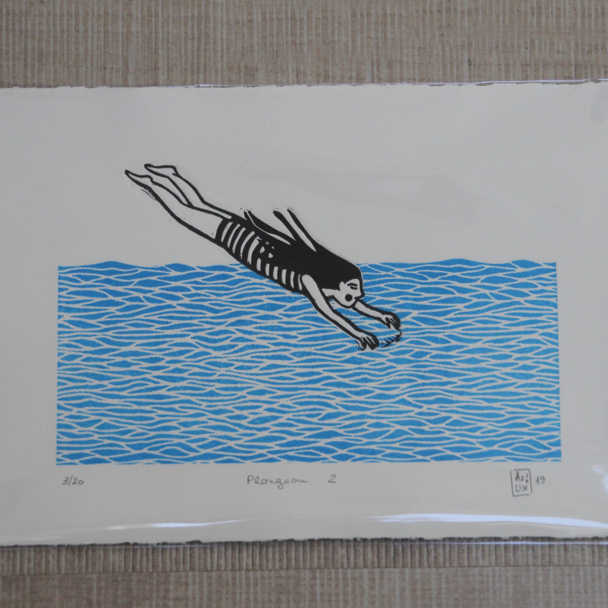 LinoLino | Linogravure et créations à partir d'impressions artisanales | Chambéry, France | Impression originale illustration plongeon plouf vagues baigneuse