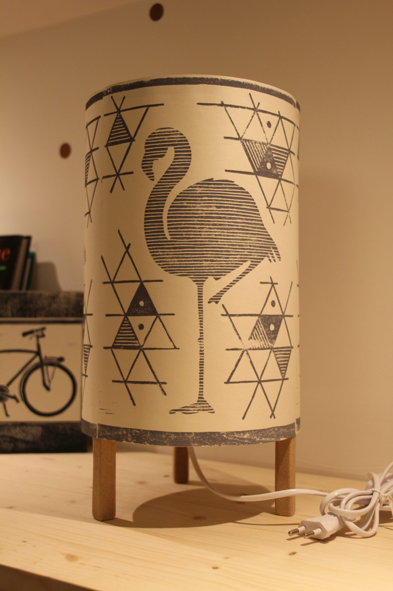 LinoLino - Linogravure et créations | Lampe Flamant Gris