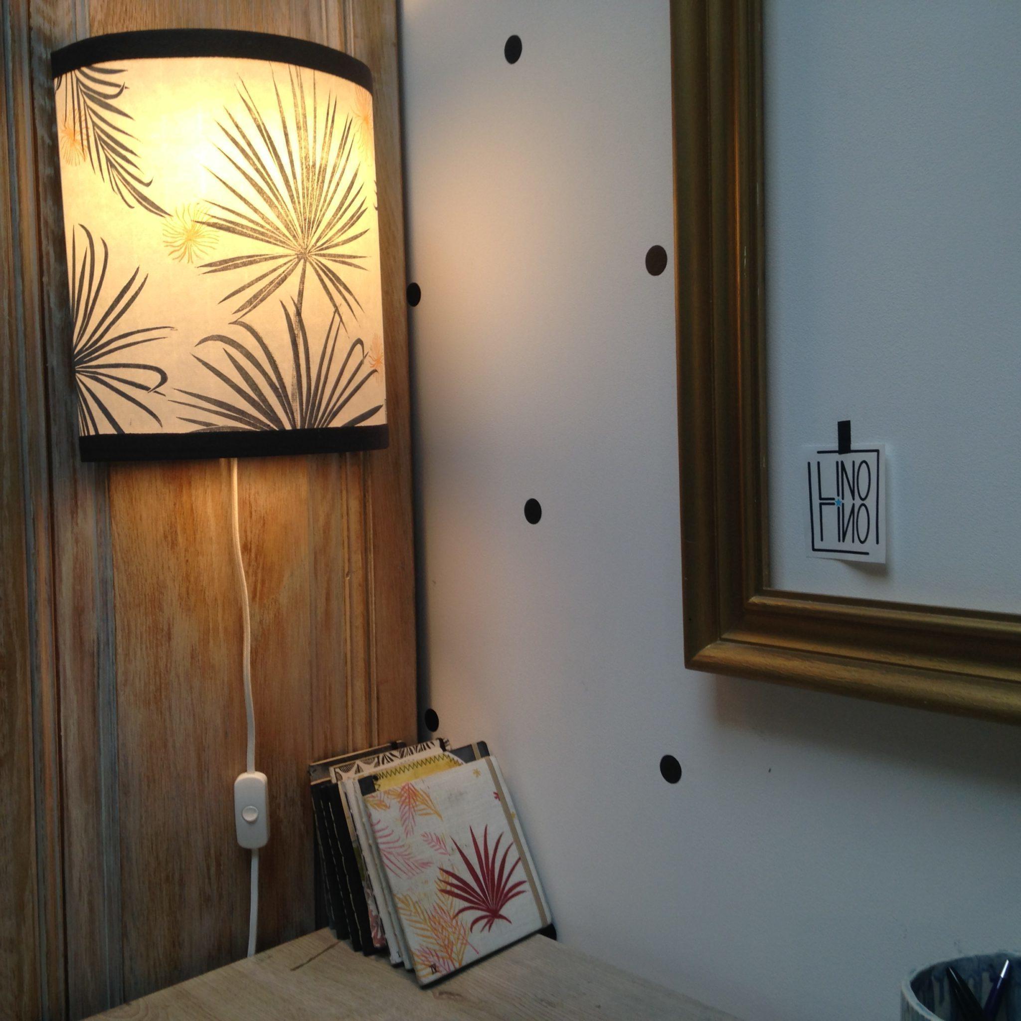 LinoLino | Linogravure et créations à partir d'impressions artisanales | Chambéry, France | Lampes | Applique nomade grand modèle, Paradis tropical
