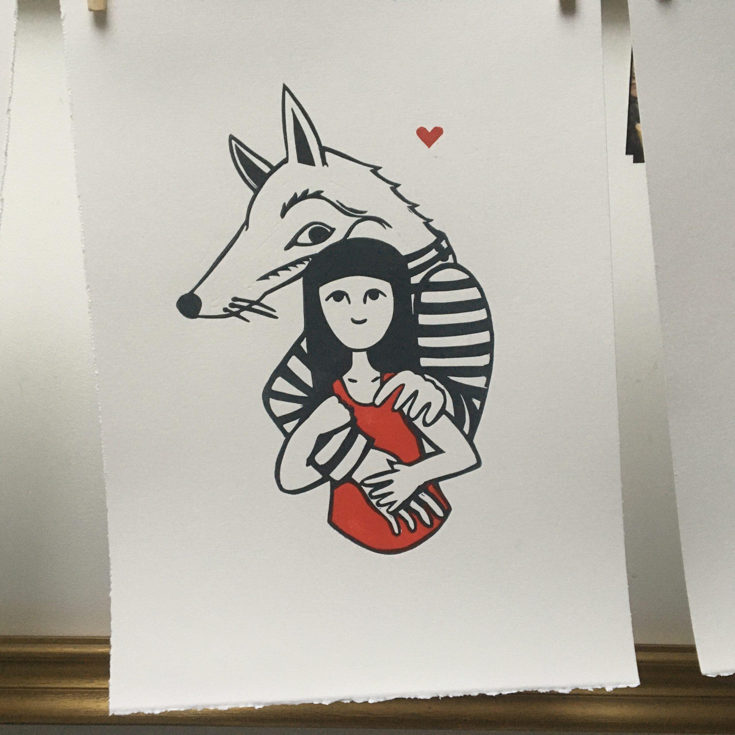 LinoLino | Linogravure et créations à partir d'impressions artisanales | Chambéry, France | Linogravure Loup et petit chaperon rouge amoureux
