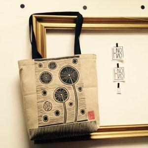 LinoLino | Linogravure et créations à partir d'impressions artisanales | Chambéry, France | Sac Fleurs de citron