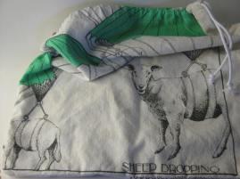 """""""Sheep Dropping"""". A tea towel bread bag."""