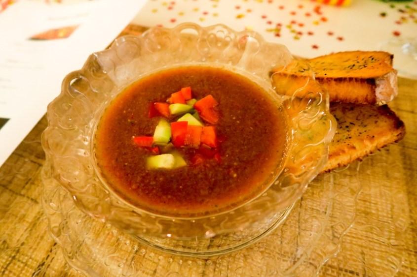 Till förrätt serverades det en hemmagjord Gazpacho