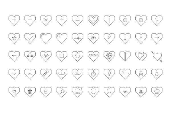 Simple-Hearted Vector Icon Set 5