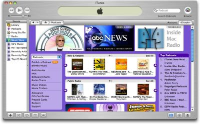 Browsing podcasts via iTunes