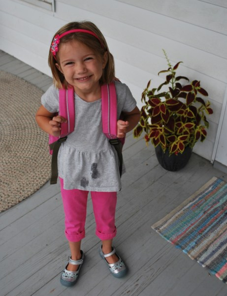 Cute little girl! ...who spilled syrup on her dress on the first day of school...