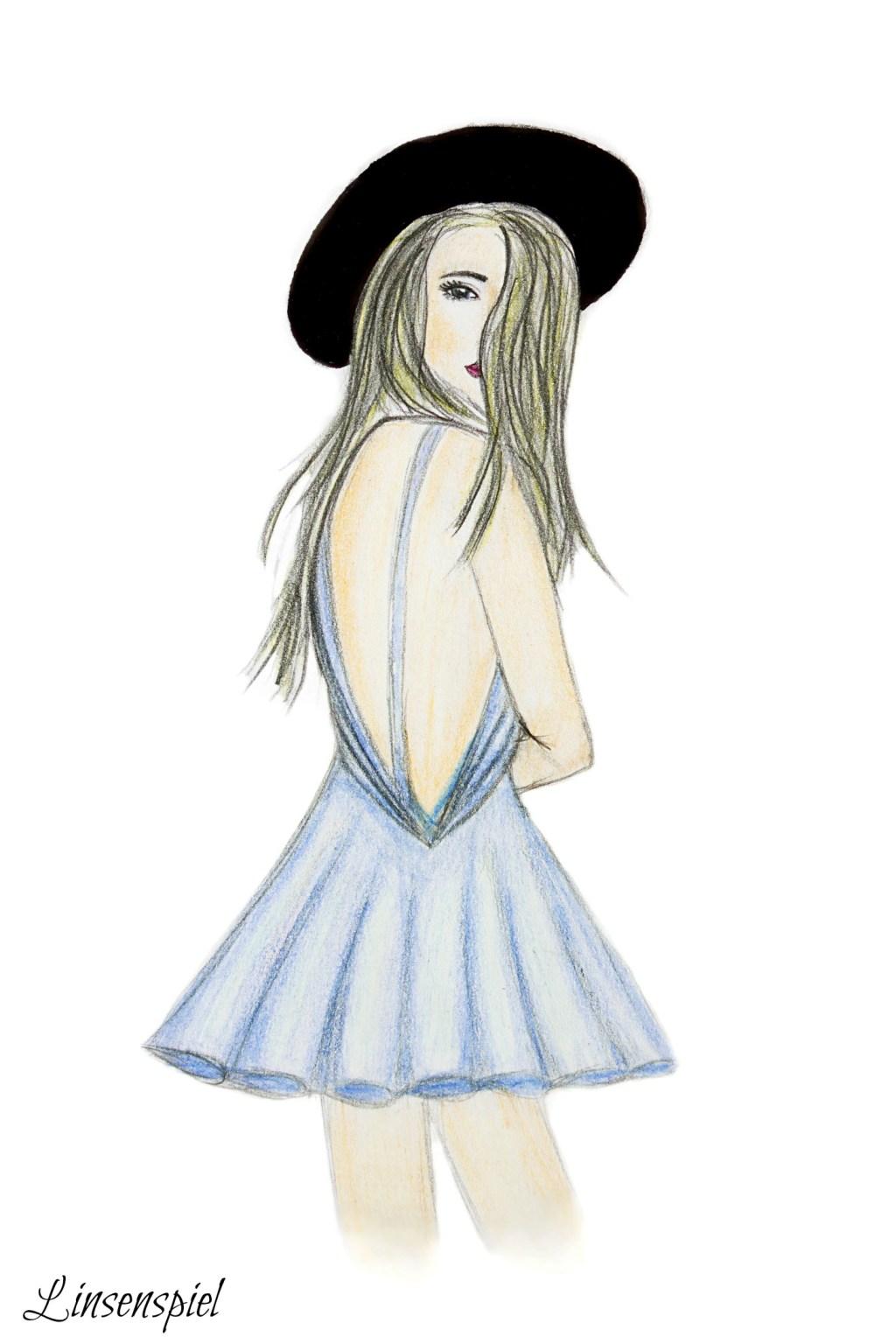 Zeichnung, Zeit, Mädchen, Rücken, Hut, Art
