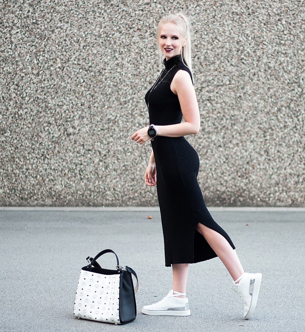 Midikleid, NAKD, Kleid, Dress, Turtleneck, Prada, Sneaker, MCM, Tasche, Shopper, Blogger, Modeblogger