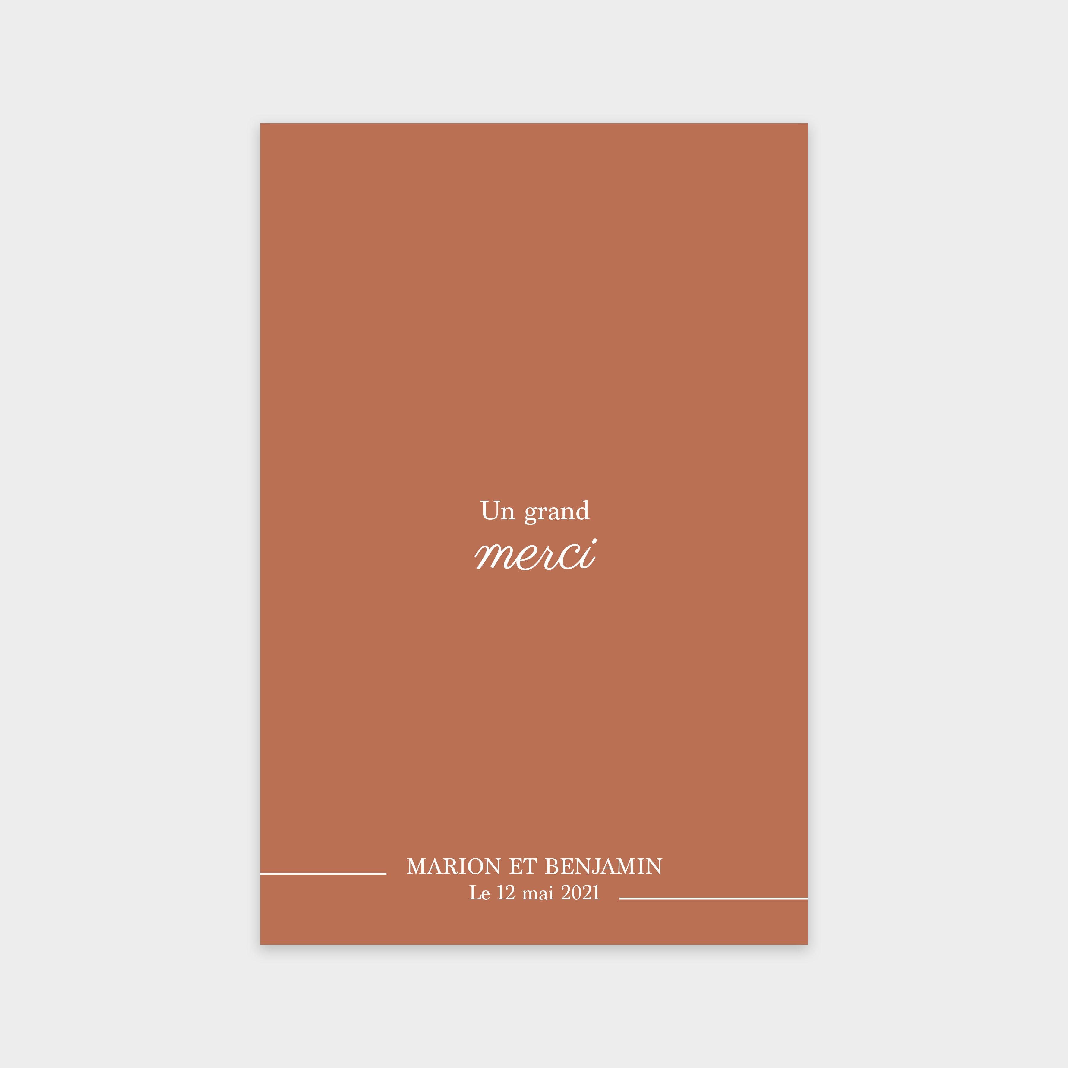 Carte de remerciement Évidence sépia