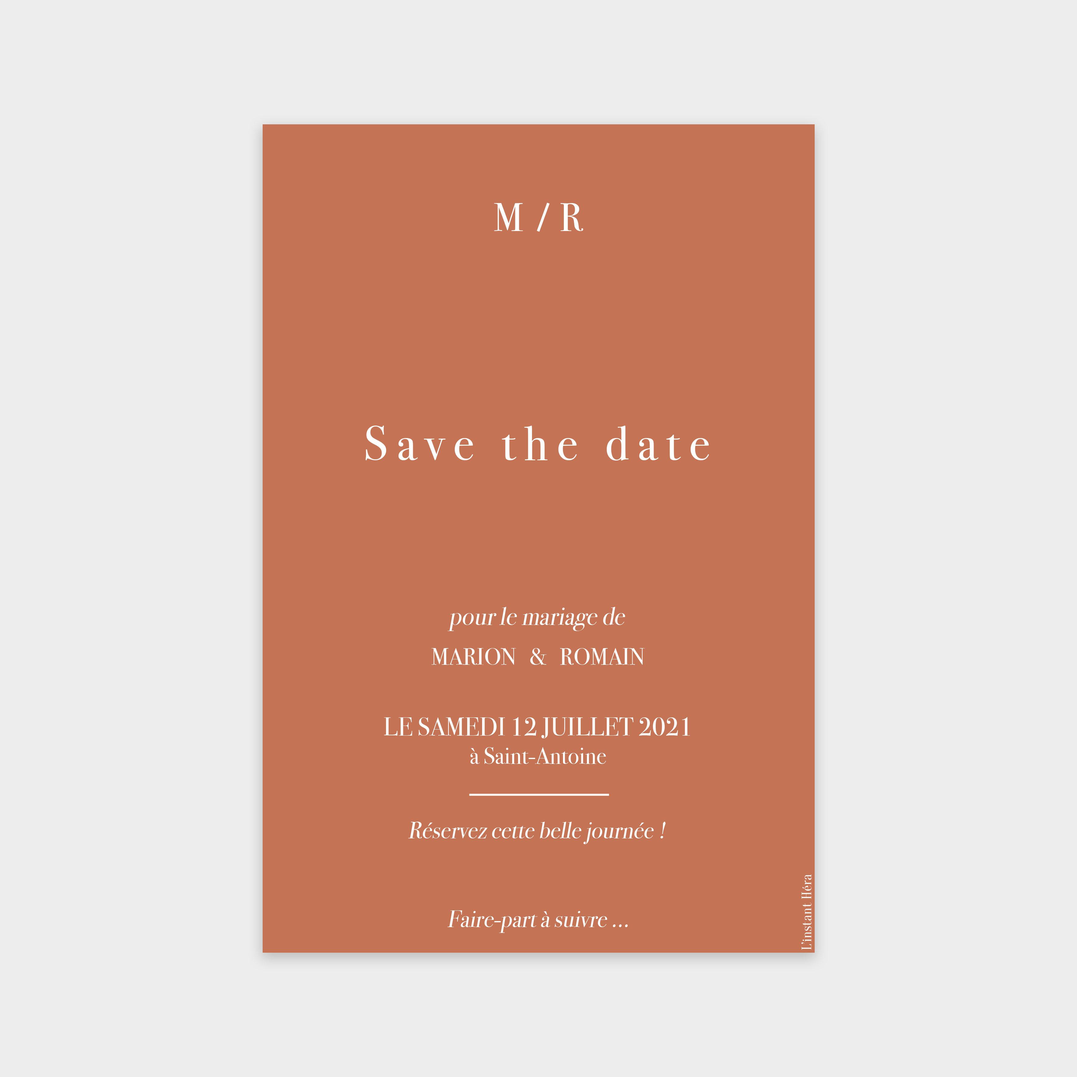 Save the date Nous deux terracotta