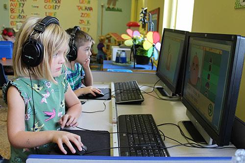 Students at computers - Preschool