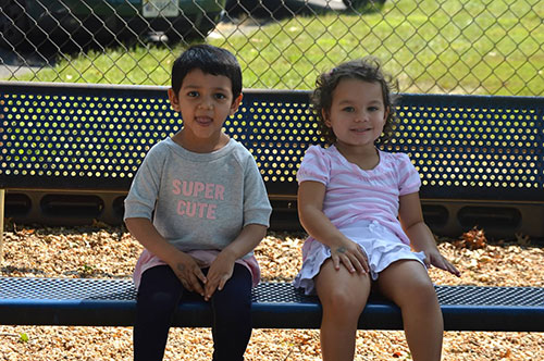 Students on bench - Preschool