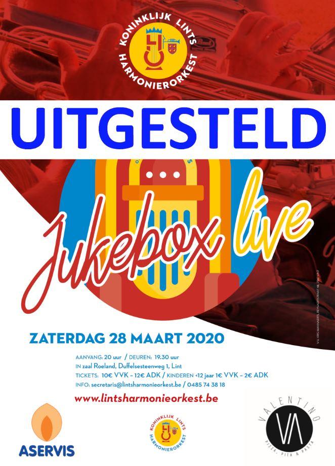Affiche concert Jukebox uitgesteld