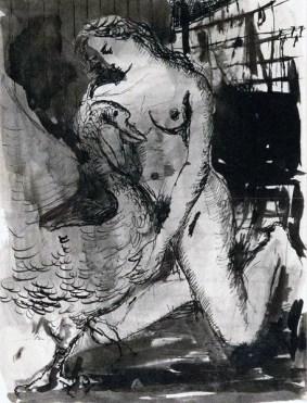 Léda et le Cygne (1947, Indian ink on paper)