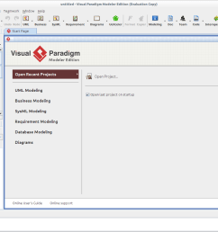 visual paradigm for uml modeler edition the main window where users can start the  [ 1313 x 913 Pixel ]
