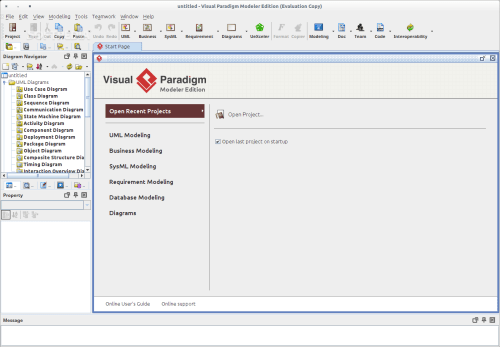 small resolution of visual paradigm for uml modeler edition the main window where users can start the