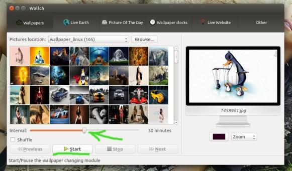 Wallch выбор интервала времени для смены фона Ubuntu / Linux Mint