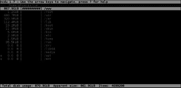 Ncdu - информация о директориях и файлах