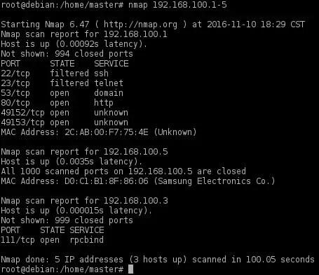nmap scanning an ip range